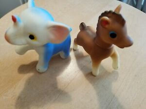 Vintage Toys Rubber Elephant and Pony Hong Kong 1970's
