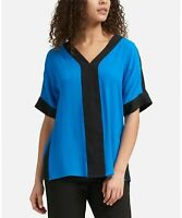 DKNY Top Blouse ColorBlock V-Neck Women Blue Black Sz S NEW NWT 279