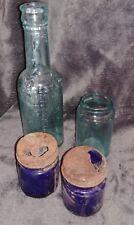 Lot Vintage Blue Colored Clear Glass Medicine Bottles Set of 4 Wedding Decor