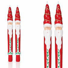 Christmas Set of 2 Taper Candles 25cm Novelty Design - Santa