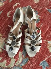 HOTTER WEDGE Leather sandals Size 7.5 Beige BNWOB