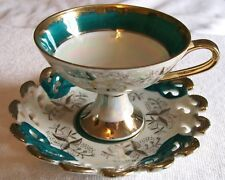 VINTAGE PORCELAIN LEFTON CHINA TEA CUP &PIERCED SAUCER TEAL & GOLD,IRIDESCENCE