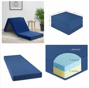Portable 4'' Memory Foam Tri Folding Mattress Single Bed Guest Kids Dorm Camping
