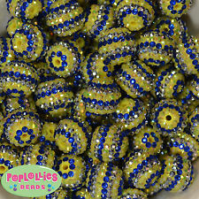 20mm Bubblegum Beads Blue, Silver and Yellow Stripe Rhinestone Minion, 20 pc