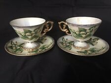 Vtg 2 WALES/Japan Lustreware Birthday Tea Cups & Saucers May/Lily of the Valley