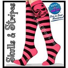 Women's Skull Knee Socks (Pink Stripe)