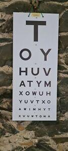 Opticians Eye Test Chart Board Heavy Cardboard 48.5cm x 20.5cm