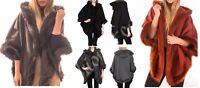 Womens Ladies FAUX FUR PONCHO CAPE Celeb Trim Hooded Jacket Lush Wrap Coat 8-16