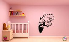 Wall Sticker Cute Baby Elephant on A Serfing Board Decor for Nursery Room z1439