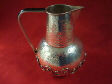 Los Castillos Taxco Plateado Hammered Pitcher with Inlaid Green Stones