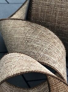 """5 Yards Brown/Gold Linen 2 1/2"""" Wired Christmas/Fall Ribbon"""