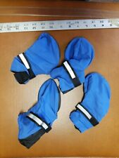 Set Of XL TOP PAW DOG BOOTIES Pup Light Blue reflective band non-skid tread