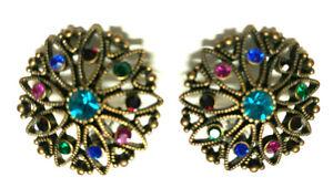 Vintage Gold tone rhinestone pierced  Earrings