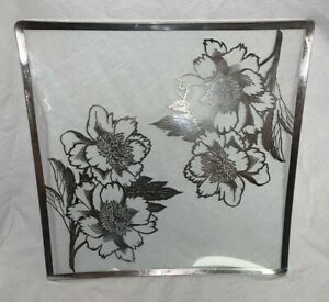 """SQUARE SILVER OVERLAY GLASS SERVING PLATTER/PLATE WITH FLORAL DESIGN 12"""""""