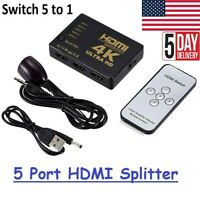 5-Port HDMI Switch Switcher Splitter Supports 4K Full HD1080p 3D with IR Remote