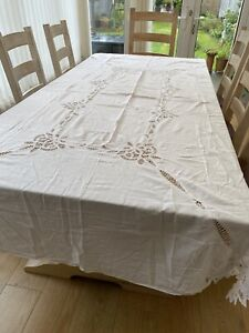 Tablecloth Vintage White Cotton Large Embroidered Crochet Pretty Wedding Party