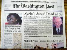 2000 newspaper SYRIAN dictator HAFEZ AL-ASSAD is DEAD - father of BASHAR ASSAD
