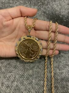 Gold PLATED Men's Two Tone Nugget Mexican Coin CENTENARIO Pendant & Rope Chain