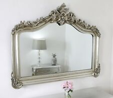 """Cristina Silver Arched Overmantle Wall Mirror 50"""" x 40"""" (128cm x 102cm)"""