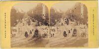 Parigi Istantanea Boulevard Da La Madeleine Foto Stereo Vintage Albumina Ca 1865