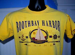Vtg Boothbay Harbor Maine T Shirt USA Yellow Nautical Ship Sailing Men Small 90s