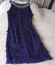 Dark blue cocktail party dress by ROMAN Size 10 Tiered Diamante