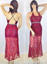 Vtg Sheer Red Net Lace Illusion Halter Metallic Empire Party Cocktail Dress L