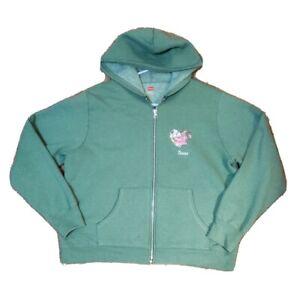 Hanes Sweater Jacket Womens Size Large Full Zip Texas Heart Green - has hole