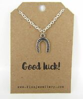 Silver Good Luck Horse Shoe Lucky Necklace Message Card Quote Leaving Gift