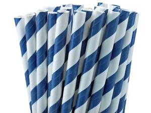 """Blue And White Striped Paper Straws 8"""" (20cm) Biodegradable Compostable Dia 6mm"""