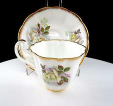 """IMPERIAL CHINA ENGLAND WHITE ROSES AND GOLD 2 5/8"""" RIBBED CUP AND SAUCER SET"""