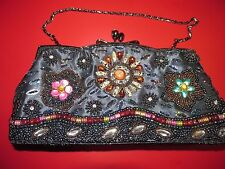 Vintage Fashion Cocktail Clutch Beaded Hand Bag with Strap G19
