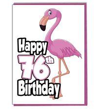 Pink Flamingo 76th Birthday Card - Ladies - Daughter - Grandaughter - Friend