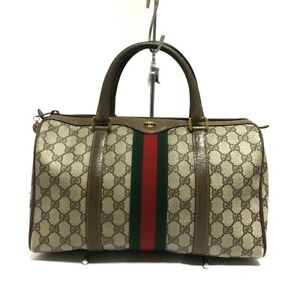 Auth GUCCI Accessory Collection Ophidia GG Plus Light Brown PVC Leather Handbag