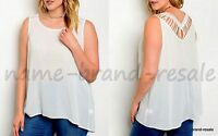 TORRID NEW White Hi Low Tank Top Plus 3 3X 22 24 Crochet Strappy Back Shirt