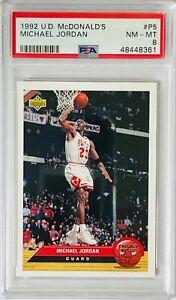 MICHAEL JORDAN 1992 UPPER DECK MCDONALDS CARD #5 PSA GRADED MINT 8 CHICAGO BULLS