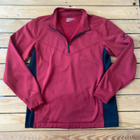 Nike Golf Men's Therma Fit Long sleeve half zip Pullover Size M Red Black D7