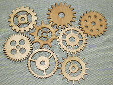 "Group #1 Includes 8  3"" Custom Wood Wooden Gears Gear COG Steampunk Wall Art"