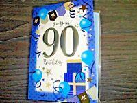 """90TH"" BIRTHDAY CARD PARCELS BALLOONS STARS BLUE MALE NEW F. P. SIMON ELVIN"