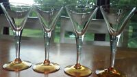 Amber Foot Cordial Glasses Liqueur Glasses flared clear bowl stem 4 2 ounce stem
