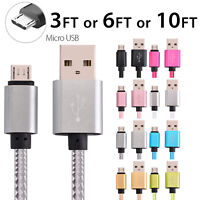 Micro USB Fast Charger Data Sync Cable Braided Cord for Samsung HTC LG Android
