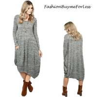 Haute BOHO Gypsy Knitted Asymmetric Hem Gray Hippie Maxi Sweater Dress S M L XL