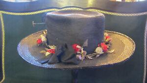 antique victorian straw hat, großer antiker Strohhut 1880-1890 schwarz