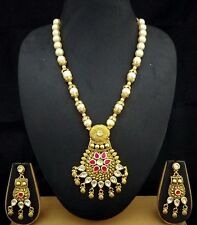 1gm 18K Gold Plated CZ Kundan Ruby Necklace Earrings Jewelry 3pc Hot Gift Set