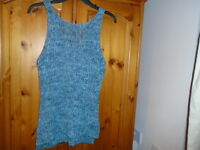 Green and blue mix big stitch sleeveless jumper, ATMOSPHERE, size 10