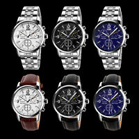 SKMEI Luxury Men's Stainless Steel Band Black Dial Analog Quartz Wrist Watch