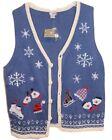 NEW NWT Women M Medium Ugly Christmas Sweater Vest ICE SKATE SNOWFLAKE Blue