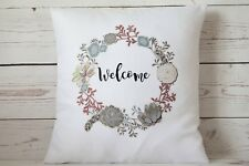 """Succulent Welcome - 16"""" cushion cover Vintage Shabby Chic"""