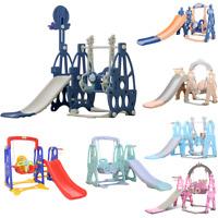 4 in 1 Kids Slide Swing Set Toddler Play Climber Backyard Playground Playset Fun