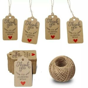 50 pcs Set, craft paper thank you gift tags wedding/Party Supplies